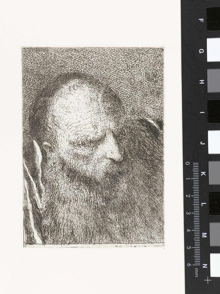 Giovanni Domenico Tiepolo | Man met baard en borstelige wenkbrauwen, Giovanni Domenico Tiepolo, Giovanni Battista Tiepolo, 1771 - 1774 |