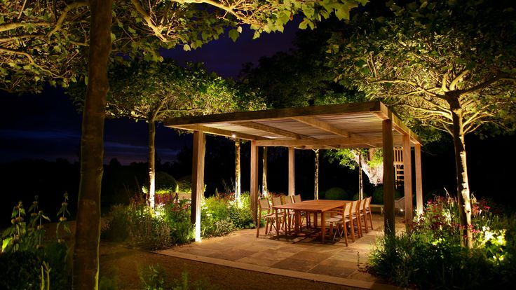 Outdoor dining area at night - Marcus Barnett Landscape and Garden Design