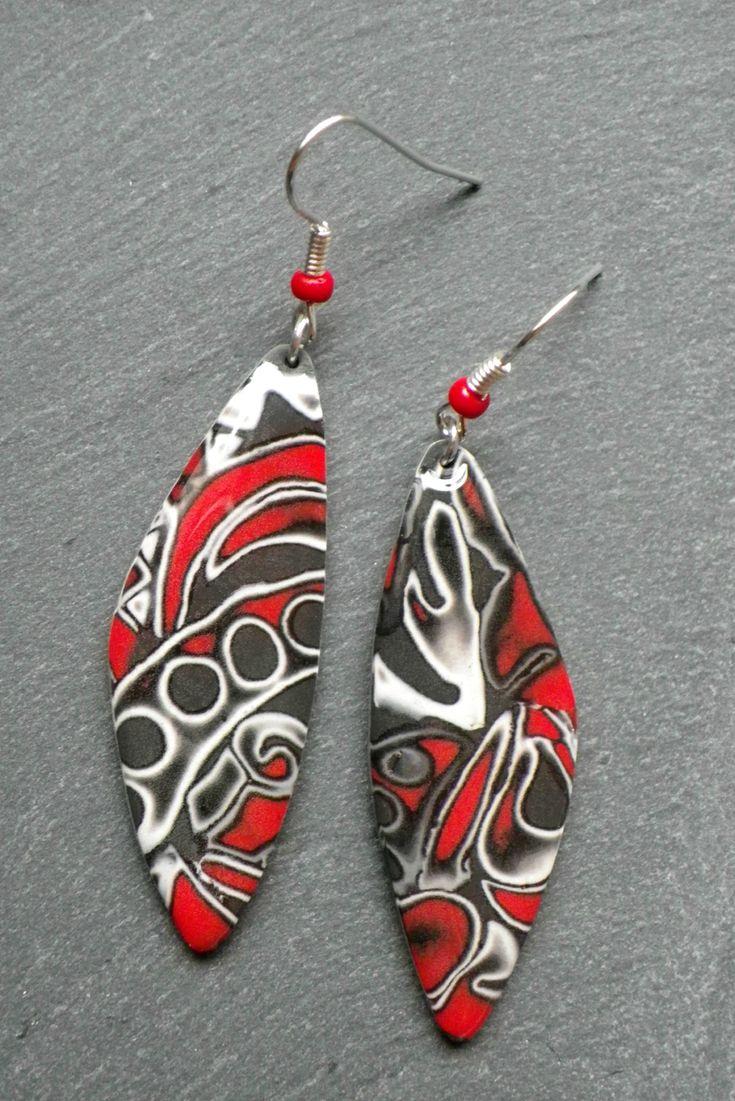polymer clay mokume gane earrings- Photo de BOUCLES D'OREILLE - Les bijoux en pâte polymère de Vert Cerise