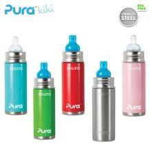 Pura Kiki Isolierflasche - 250ml - Weithalssauger oder Trinklernaufsatz + Schutzkappe