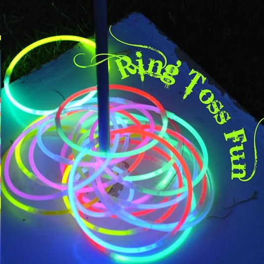 make ring toss more fun is doing it in the dark with glow sticks. You can make a pole out of just about anything, and make your rings as big...