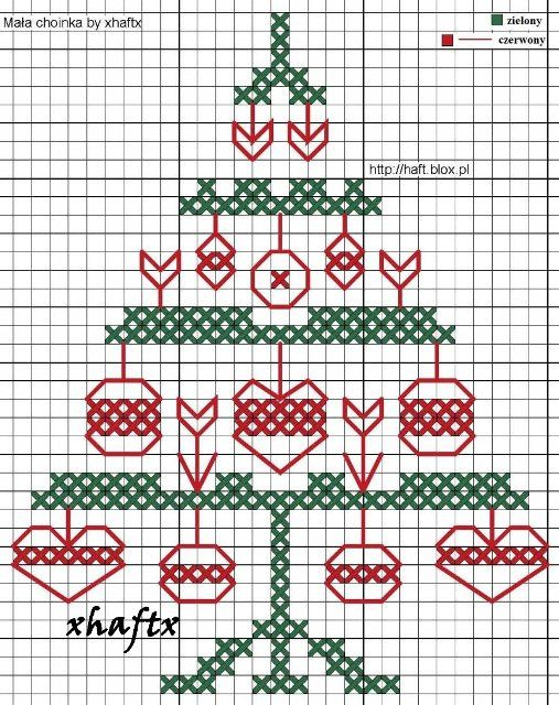 mala choinka; free counted cross stitch Christmas tree; cute and different design!