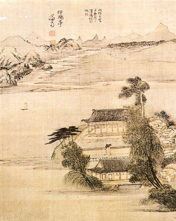(Korea) 압구정 by Gyeomjae Jeong Seon (1676-1789). ca 18th century CE. colors on silk. 왜관수도원.