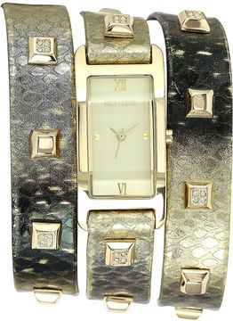 Vince Camuto Watch, Women's Gold-Tone Crystal Stud Snake-Pattern Triple Wrap Leather Strap 40x19mm VC-5142CHGD on shopstyle.com.au
