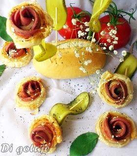Di gotuje: Różyczki z ciasta francuskiego (z mortadelą i seza...