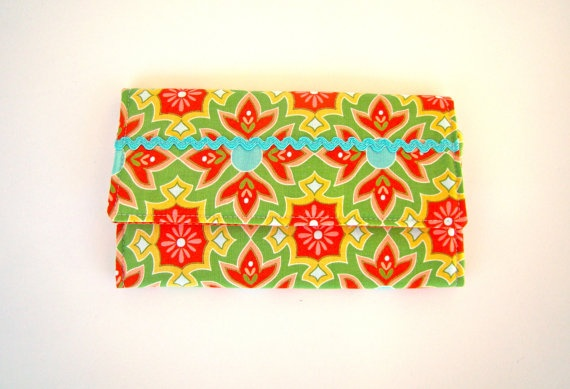Women Trifold Wallet in a Green Mosaic Print by SofiAlgarvia, €25.00