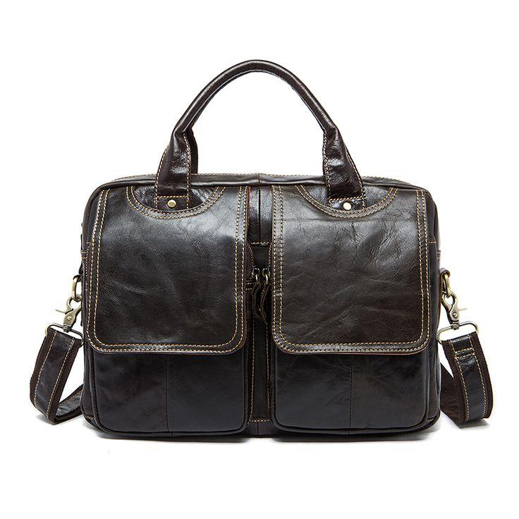 Men Luxury Vintage Handbag Cowhide Genuine Leather Bags Mens Messenger Shoulder Bag Crossbody Men's Briefcase Laptop Travel Bags