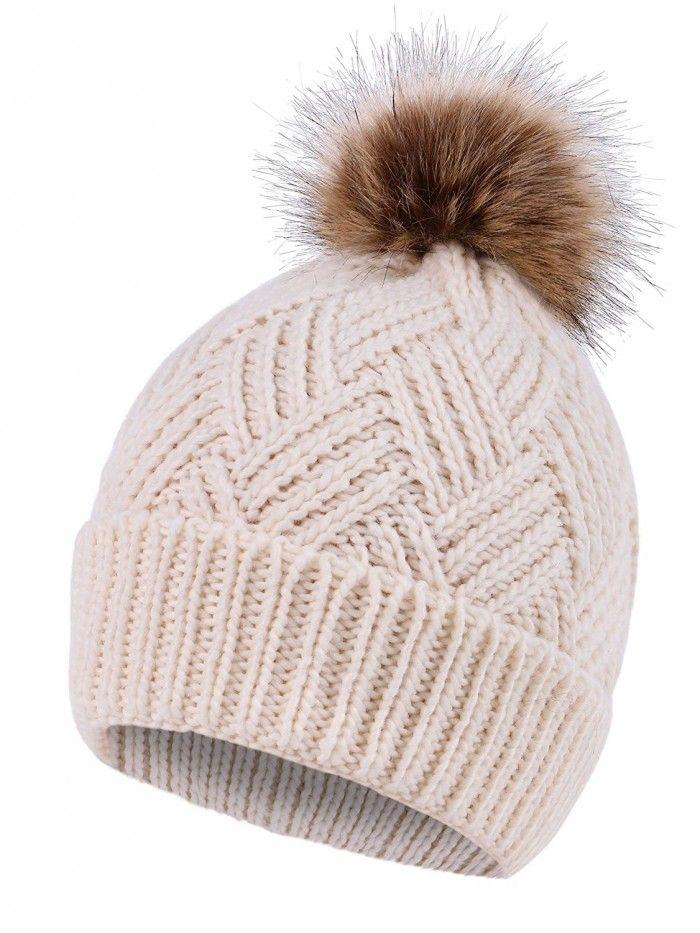 d2c3fdba6d367 Women s Diamond Weave Knit Faux Fur Pompom Winter Beanie - Cream -  CY18833R7IG - Hats   Caps