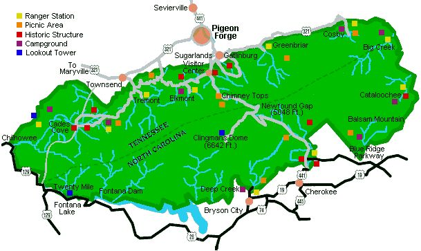 Great Smoky Mountains National Park Hiking Map. Hiking Trail Information can be foung in Tennessee Vacation Cabin, Cottage, and Chalet Overnight Rentals in the Fireside Chalets Rentals.