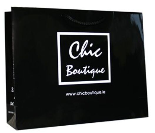 #stylishcarrierbags #luxurybags #chicbags #boutiqueThis design is stylish and effortless and reflects the style of the boutique.  The black and white design is simple and effective and will not date.