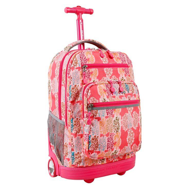 J World Sundance Laptop Rolling Backpack - Pink Forest