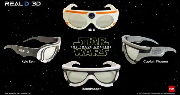 Fans seeing 'Star Wars 7' in RealD 3D will get to choose between four different 3D glasses based on the new characters in this sequel.