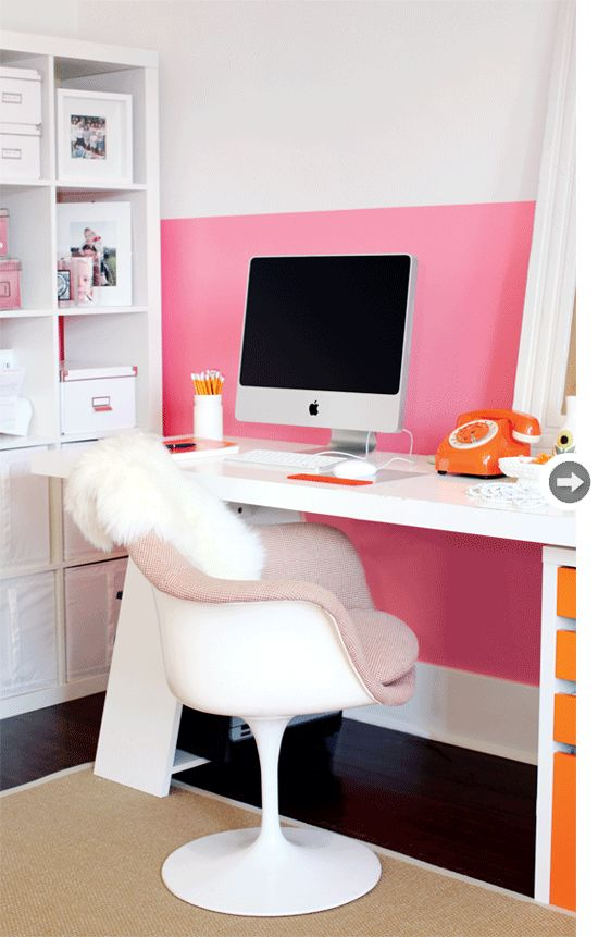 Jewelry designer Shereen de Rousseau's home office. In LOVE with the pink/white/orange color combo. Very retro, yet feels modern, too.  \\\ Photo by Janis Nicolay