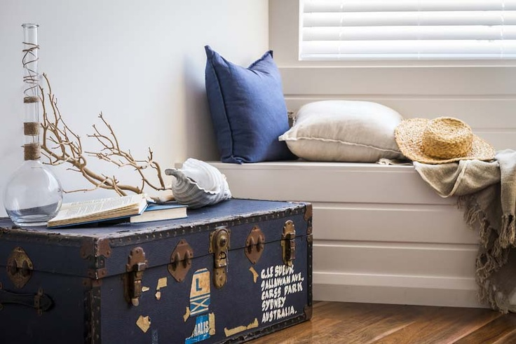 Advantage Property Styling, Driftwood, Coral, Coastal, Nautical, Trunk, Luggage, Travel, Wood, Throw, Cushions, Panelling, White, Navy, Glass, Books, Hat, Interior Decoration, Styling