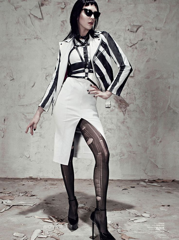 Hannelore Knuts for Exhibition -Jitrois leather dress and Bless leather jacket