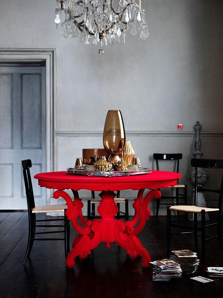 Dining Room Red Table Round Chandelier Black Chairs Bold Statement