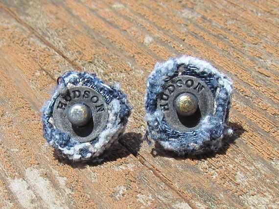 Earring - Post - Recycled Hudson Brand Denim - Upcycled