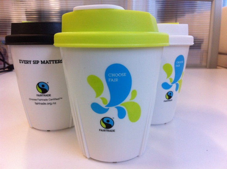 Re-useable NZ made Ideal Cups - ideal for your Fairtrade coffee and avoiding clogging up our landfill sites with disposable cups.