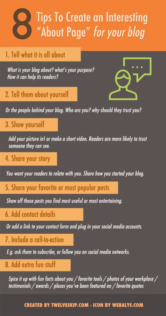 How to create an interesting about me page @ http://www.twelveskip.com/guide/blogging/1265/create-interesting-about-page