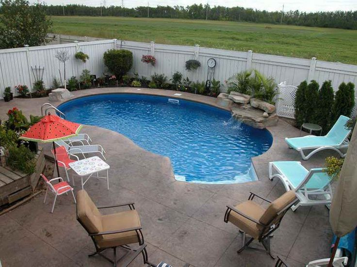 small kidney shaped inground pool designs for small backyard with outdoor furniture - Swimming Pool Designs For Small Yards