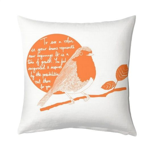 This artwork was inspired by Britain voting the robin as its national bird. Did you know that to see a robin in your dreams is a good omen? Cushion £28 http://www.artrookie.co.uk/item.php?type=9&id=5063  #softfurnishings #house #home #robin #bird #garden #instaart #drawing #design #dailysketch #drawingaday #homeware #UK #independentdesigners #British #dreams #cuteanimals #birdvote #quote #inspirational #QOTD #print #cushion