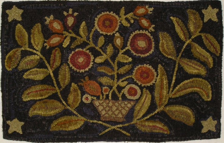 HAND HOOKED RUG ~ FLOWERS IN ANTIQUE BASKET PRIMITIVE HOOKED RUG~ 362.50 Polly Minick book