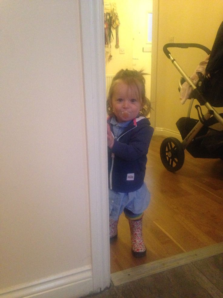 Jojo wellies and welly socks with blue and white shirt dress and blue hoodie :)