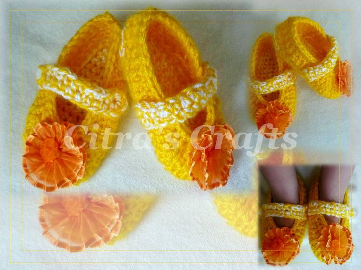 Yellow baby slippers crochet
