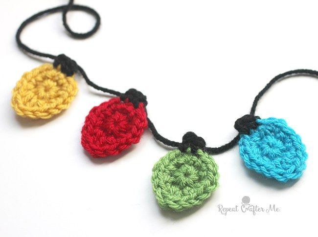 Crochet Christmas Light Appliques