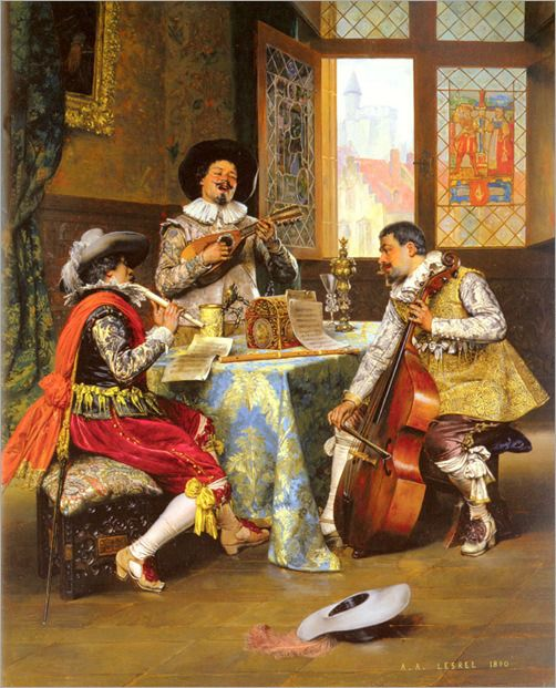 Adolphe Alexandre Lesrel (French, 1839-1929) ~ The Musical Trio ~ Lesrel was a nineteenth century French artist who specialized in painting historical genre scenes featuring cavaliers and elegantly dressed ladies.Lesrel's style was derived from a study of seventeenth century Dutch painting and is characterized by its painstaking technique and attention to details of dress, furnishings and accessories.