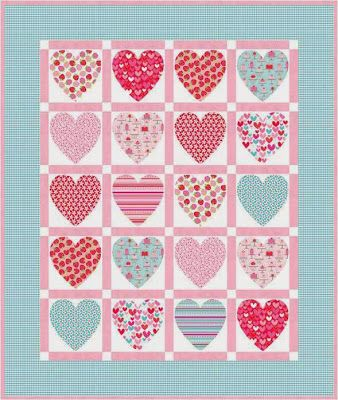 "riley blake designs free patterns | Heart Strings , 27 x 27"", wall hanging or table topper by Deborah ..."