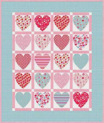 "riley blake designs free patterns | Heart Strings , 27 x 27"", wall hanging or table topper by Deborah ..."