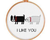 Funny Dog Love cross stitch pattern, modern cross stitch pattern, dog cross stitch pattern, funny cross stitch pattern, funny pattern, pdf