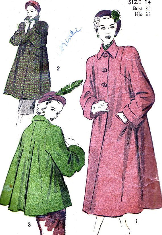 Vintage Sewing Pattern 1940s Advance 4916 Swing Coat, 3 Button Closing, Collar…