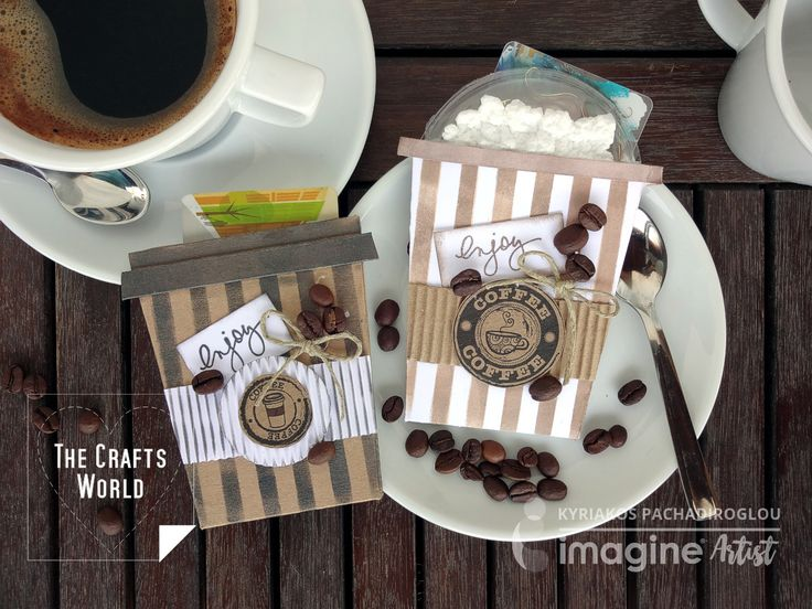 What better way to give a happy moment to a coffee lover. Make gift card pockets in the shape of a coffee cup and place the cards in. To make the pockets, I cut cardstock in paper cup shapes and using a stripes stencil, Memento and Delicata inks I cover the cuttings. The clear cover …