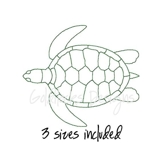 Individual Filled Turtle Shape Designs Instant Download Ocean Animal Mini Turtle Machine Embroidery Design 8 Sizes