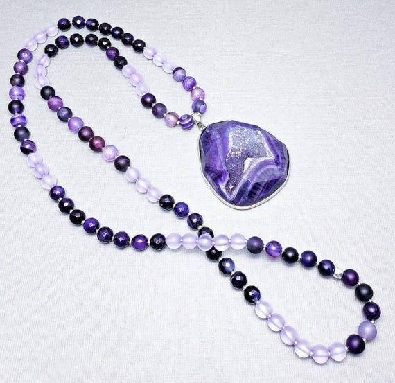 Druzy Gemstone Tassel Necklace purple druzy amethyst pink crystal quartz gold chain long boho bohemian jewelry