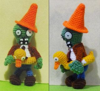 Crocheted Plants vs. Zombies dolls are ready to battle over your lawn