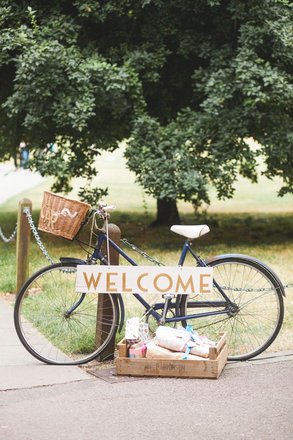 Use an old fashioned/vintage bicycle as a prop at your wedding with welcoming signage.  http://www.mandjphotos.com/
