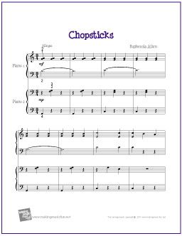 Chopsticks (Duet) | Printable Sheet Music for Easy Piano - http://makingmusicfun.net/htm/f_printit_free_printable_sheet_music/chopsticks-piano-duet.htm