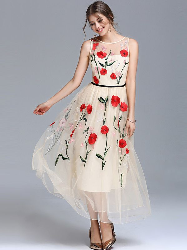 32a19e648c5e3a Shop - Apricot Sleeveless Embroidered Floral Swing Maxi Dress on  Metisu.com. Discover stylish and vogue women s dresses for the season.
