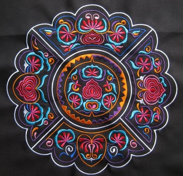 chinese miao hmong tribal machinemade embroidery circle mystery abstract design