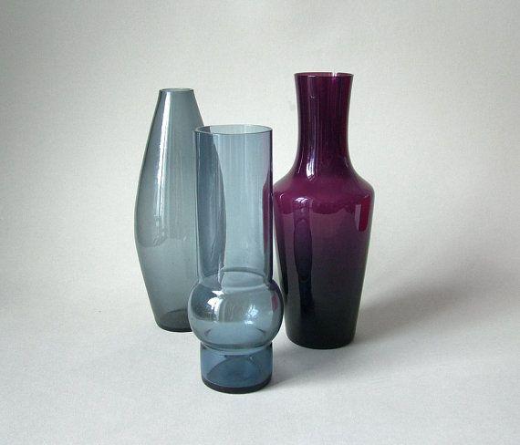 Vintage glass vase set Mid Century Modern German glass WMF style Scandinavian blue purple turmaline glass vase 50s  60s decoration flowers