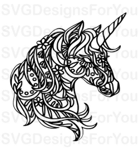 Mandala UNICORN SVG Design, unicorn svg, mandala svg, Instant Download Unicorn Files, Cricut and Sil