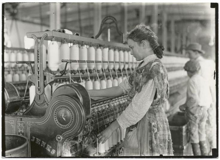 North Carolina Cotton Mill (circa 1900-1930)  Forms of child labor, including indentured servitude and child slavery, have existed throughout American history. As industrialization moved workers from farms and home workshops into urban areas and factory work, children were often preferred, because factory owners viewed them as more manageable, cheaper, and less likely to strike.