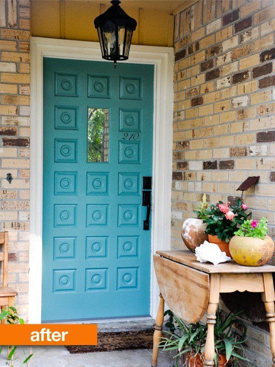 Before & After: Turquoise Front Door — In Between Laundry