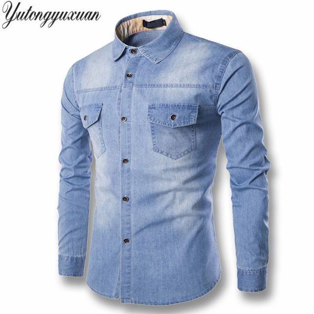 Price: US $16.94 2017 Full Solid Regular Selling Yutongyuxuan Light Denim Shirt Men 100% Cotton Thick Male Long Sleeve Cool Brand Clothing M-6xl