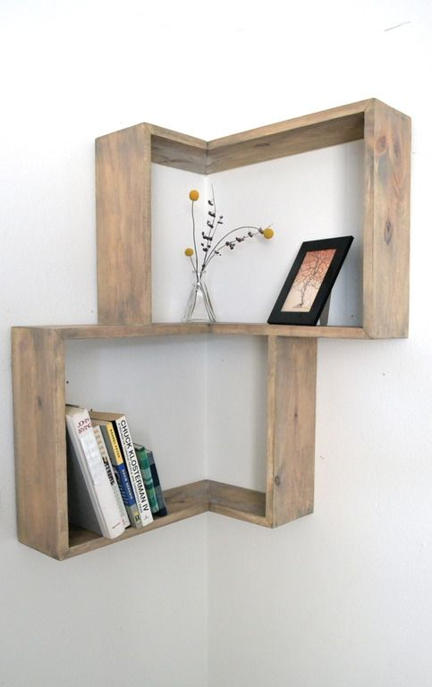 "A combination of the Geometric Shelf and the Corner Shelf, the unfinished pine shelf pictured shows the potential or personalization through a stain or accent paint color. Add interest and smart storage in an unexpected and often unused part of the wall- the corner! 30"" X 20"" X 5.5"""