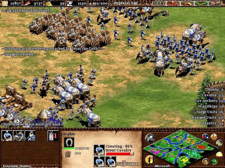 Die Ensemble Studios haben sich nach dem erfolgreichen Age of Empires 1 an eine Fortsetzung gewagt. Das Spiel hat das gleiche Spielprinzip wie Teil 1.  Rohstoffe und Armeen Du baust Rohstoffe ab, eine schlagkräftige Armee auf und erhöhst mit Forschung die Effizienz deiner Produktionsstätten und Soldaten. Mit Konkurrenten kannst du dich verbünden, oder einen Krieg anzetteln.   #Age of Empires 2 #Age of Kings #Ensemble Studios #Rise of the Rajas #The African Kingdoms #
