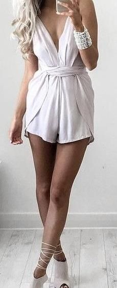 Girly and Flirty White Playsuit